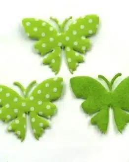 Schmetterling mit Punkten, grün, 52 mm, 20 Stück - accessoires