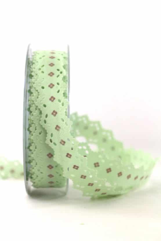Spitzenband mintgrün, 25 mm breit - dekoband