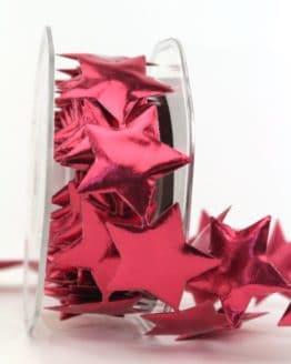 Sternengirlande rot, 40 mm - weihnachtsbaender, geschenkband-weihnachten, dekogirlande