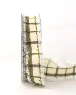 Stoffband Karo grün, 25 mm breit - karoband, geschenkband-kariert