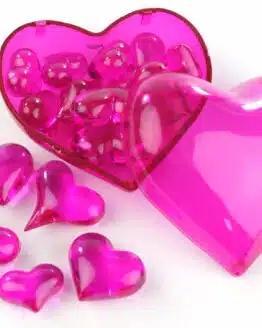 Streuherzen Acryl pink, Größen sortiert, 16 St. - valentinstag, muttertag, hochzeitsdeko