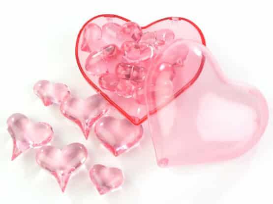 Streuherzen Acryl rosa, Größen sortiert, 16 St. - valentinstag, muttertag, hochzeitsdeko