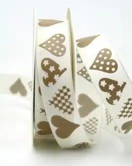 Taftband creme-braun mit Herzen, 25 mm breit - valentinstag, muttertag, anlasse