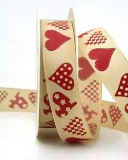 Taftband creme-rot mit Herzen, 25 mm breit - valentinstag, muttertag, anlasse