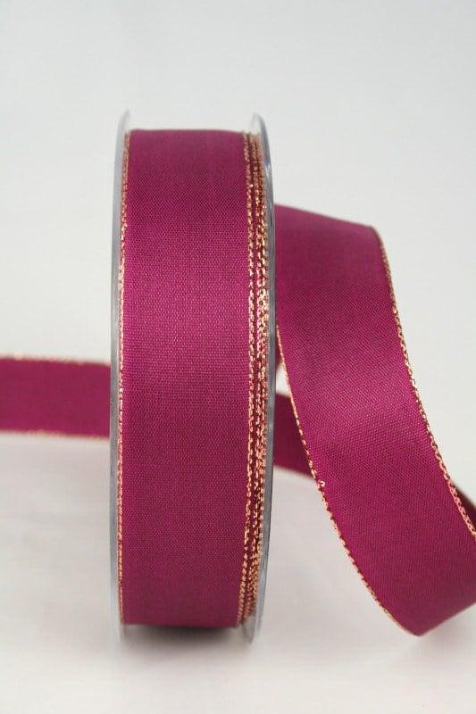 Uni Taftband mit Goldkante, 25 mm breit, himbeer - sonderangebot, geschenkband-weihnachten