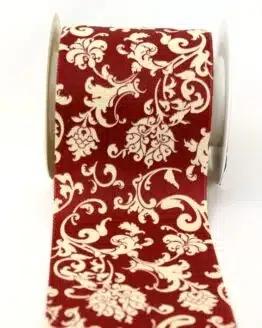Tischband Klassik dunkelrot-creme, 100 mm - geschenkband, geschenkband-gemustert, dekoband