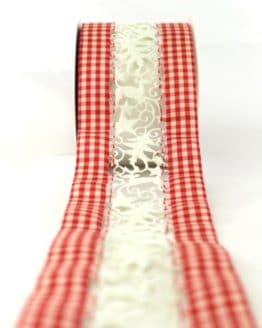 Tischband rot-kariert, 80 mm breit - geschenkband-weihnachten-gemustert, geschenkband-weihnachten