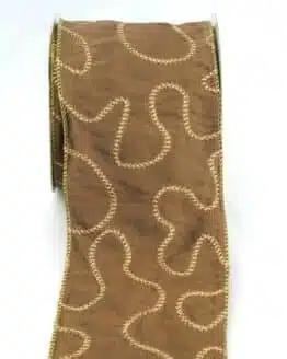 Exklusives, extra breites Geschenkband / Tischband braun-gold, 100 mm breit - sonderangebot, geschenkband-weihnachten, dekoband-mit-drahtkante