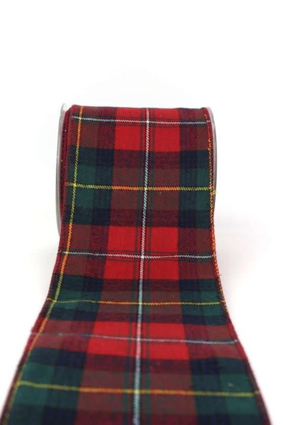 Tischband Schottenkaro, rot-grün, 100 mm - weihnachtsbaender, karoband, geschenkband-weihnachten-kariert, geschenkband-weihnachten-gemustert