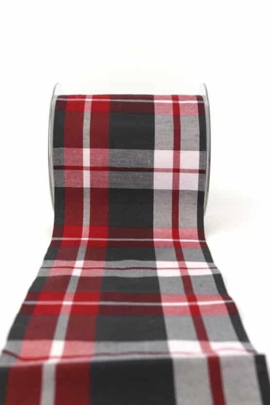 Tischband Nordic-Style, rot-grau, 100 mm - weihnachtsbaender, karoband, geschenkband-weihnachten-kariert, geschenkband-weihnachten-gemustert