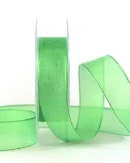 Transparentes Geschenkband, grün, 25 mm breit - organzaband-mit-drahtkante, organzaband-einfarbig