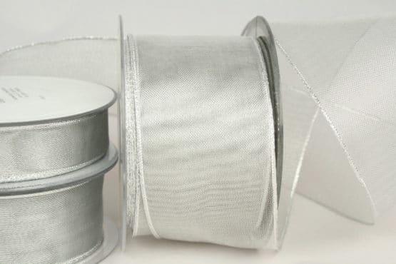 Transparentes Geschenkband für Weihnachten, 25, 40 und 60 mm, silber - weihnachtsband