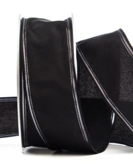 Trauerband schwarz mit Silberrand, 40 mm breit - trauerband