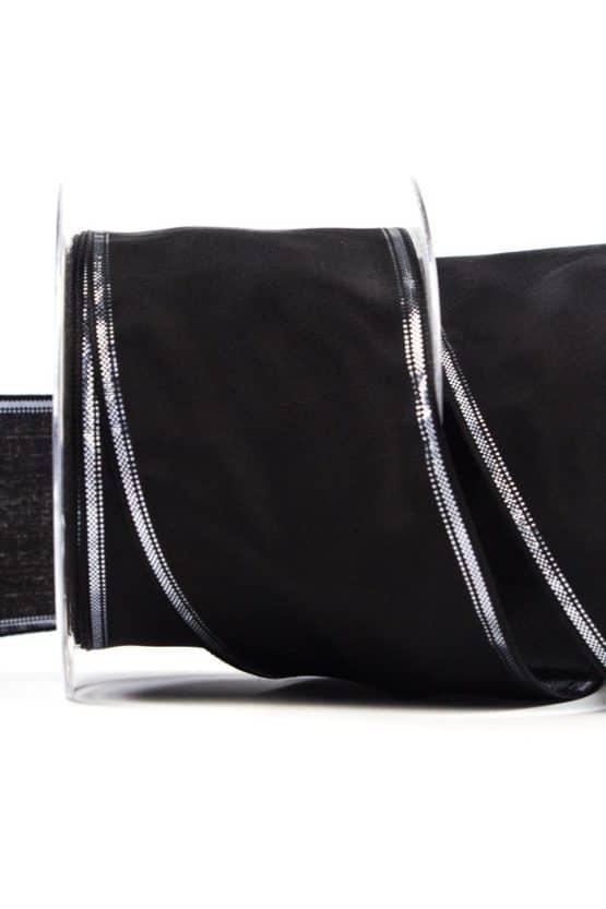 Trauerband schwarz mit Silberrand, 70 mm breit - trauerband