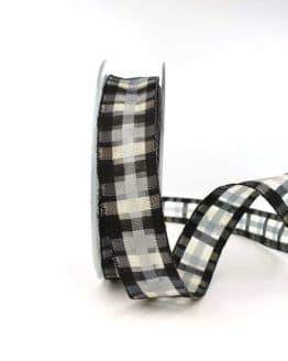 Karoband schwarz-weiß, 25 mm - trauerband, geschenkband, dekoband