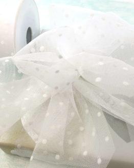 Tüll mit Pünktchen weiß, 80 mm breit - tull, hochzeit, outdoor-bander, anlasse