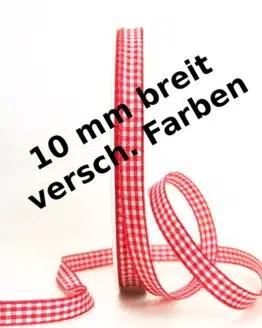 Vichy-Karo-Band, 10 mm breit, 50 m Rolle - karoband, geschenkband-kariert