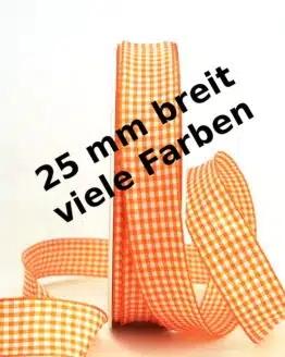 Vichy-Karo-Band, 25 mm breit, 50 m Rolle - karoband, geschenkband-kariert