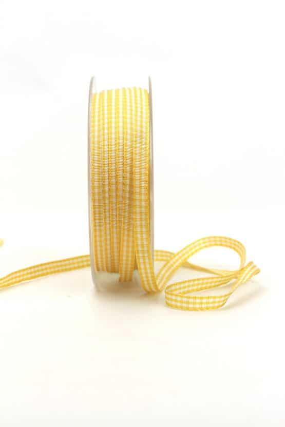Vichy-Karoband gelb, 6 mm breit - karoband, geschenkband-kariert