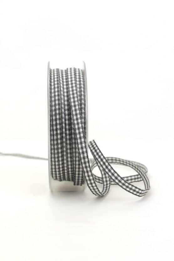 Vichy-Karoband grau, 6 mm breit - karoband, geschenkband-kariert