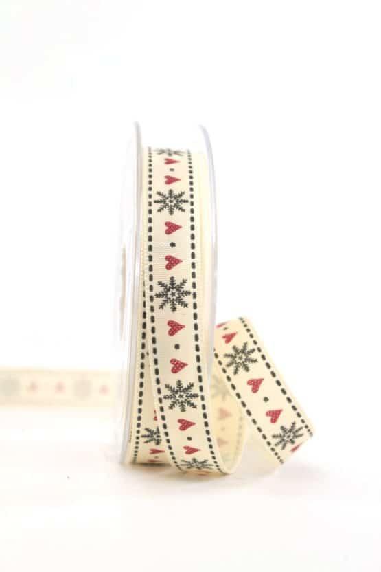 """Vintage-Geschenkband """"Schneeflocken"""", 15 mm - vintage-baender, geschenkband-weihnachten, geschenkband-gemustert"""