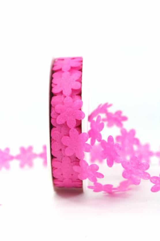Vlies-Blüten-Girlande, pink, 20 mm breit - geschenkband-einfarbig, dekoband