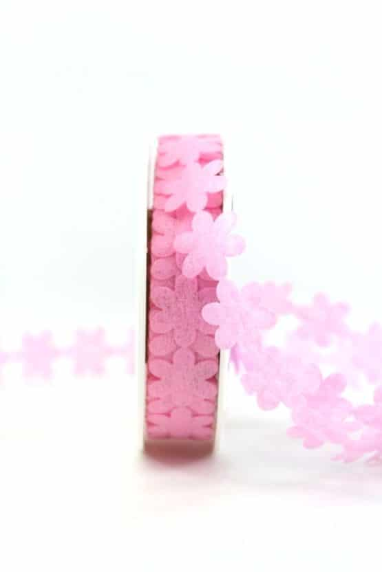 Vlies-Blüten-Girlande, rosa, 20 mm breit - geschenkband-einfarbig, dekoband