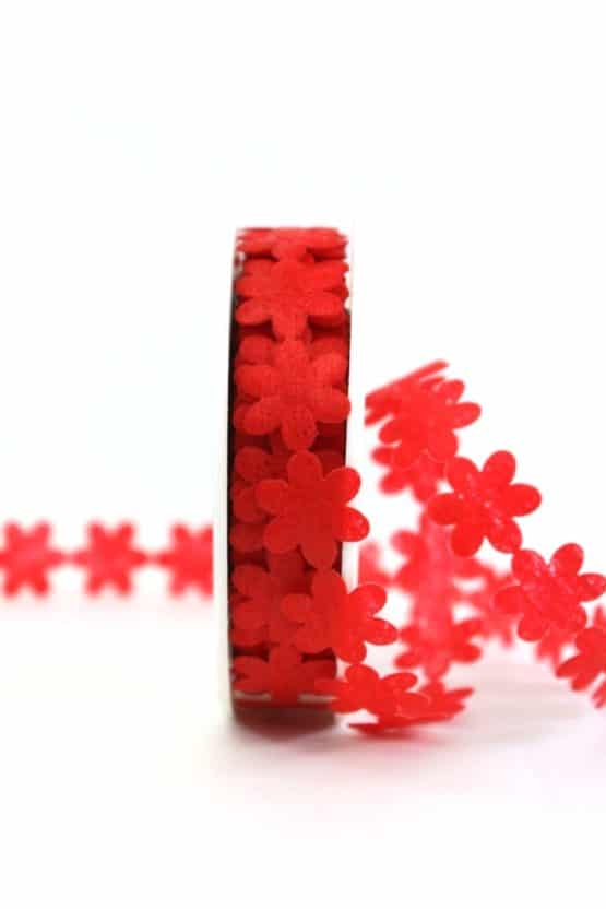 Vlies-Blüten-Girlande, rot, 20 mm breit - geschenkband-einfarbig, dekoband