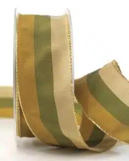 Weihnachtsband Streifen, braun-grün, 40 mm breit - geschenkband-weihnachten-gemustert, geschenkband-weihnachten