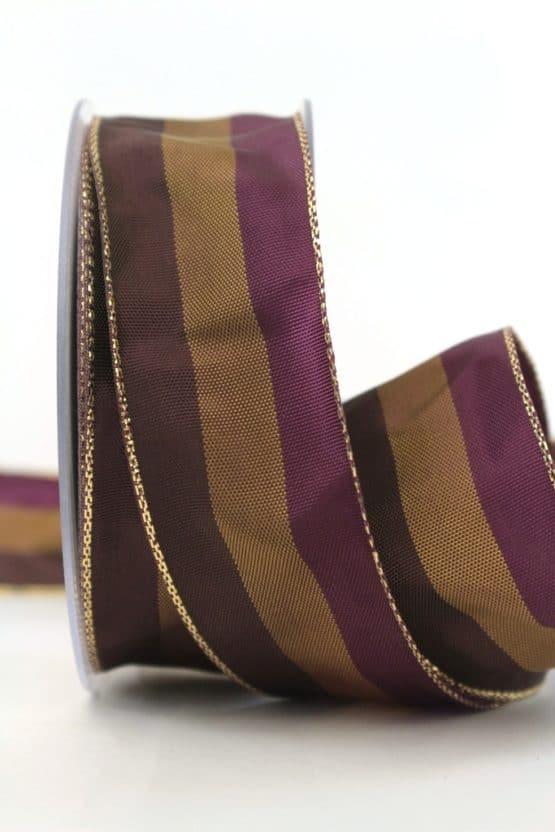 Weihnachtsband Streifen, braun-lila, 40 mm breit - geschenkband-weihnachten-gemustert, geschenkband-weihnachten