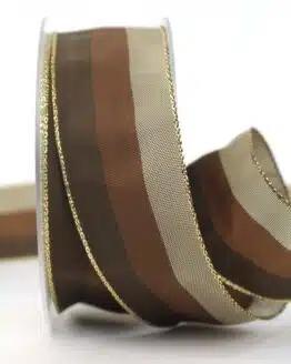 Weihnachtsband Streifen, braun-taupe, 40 mm breit - geschenkband-weihnachten-gemustert, geschenkband-weihnachten