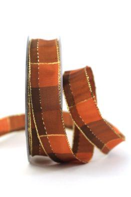 Weihnachten Geschenkband Karoband 25mm braun-gold (408342513220)
