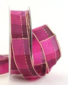 Karoband Weihnachten, pink-gold, 25 mm breit - geschenkband-weihnachten-kariert, geschenkband-weihnachten