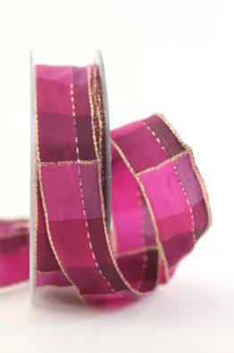 Weihnachten Geschenkband Karoband 25mm pink-gold (408342513020)