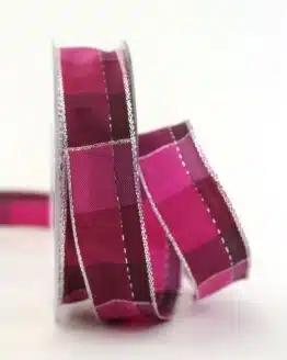 Karoband Weihnachten, pink-silber, 25 mm breit - geschenkband-weihnachten-kariert, geschenkband-weihnachten