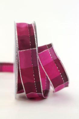 Weihnachten Geschenkband Karoband 25mm pink-silber (408342523020)