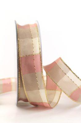 Weihnachten Geschenkband Karoband 25mm rosa-gold (408342510720)