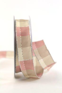 Weihnachten Geschenkband Karoband 25mm rosa-silber (408342520720)