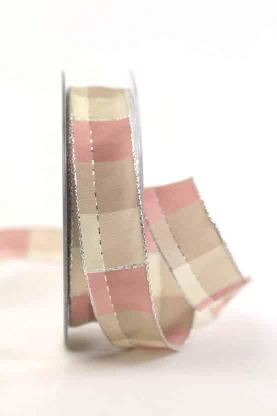 Karoband Weihnachten, rosa-silber, 25 mm breit - geschenkband-weihnachten-kariert, geschenkband-weihnachten