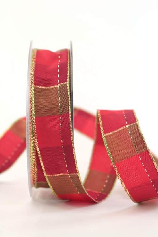 Karoband Weihnachten, rot-gold, 25 mm breit - geschenkband-weihnachten-kariert, geschenkband-weihnachten