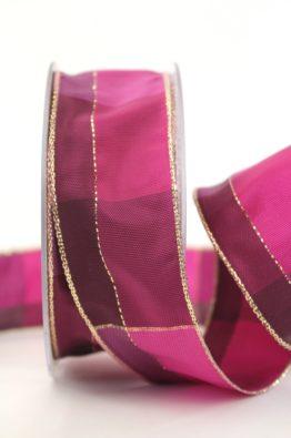 Weihnachten Geschenkband Karoband 40mm pink-gold (408344013020)