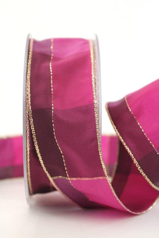 Karoband Weihnachten, pink-gold, 40 mm breit - geschenkband-weihnachten-kariert, geschenkband-weihnachten