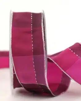 Karoband Weihnachten, pink-silber, 40 mm breit - geschenkband-weihnachten-kariert, geschenkband-weihnachten