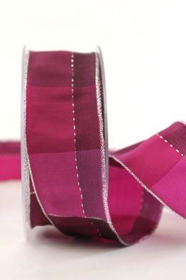 Weihnachten Geschenkband Karoband 40mm pink-silber (408344023020)