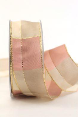 Weihnachten Geschenkband Karoband 40mm rosa-gold (408344010720)