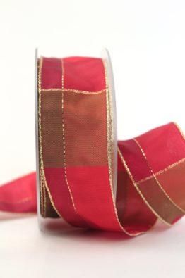 Weihnachten Geschenkband Karoband 40mm rot-gold (408344012320)