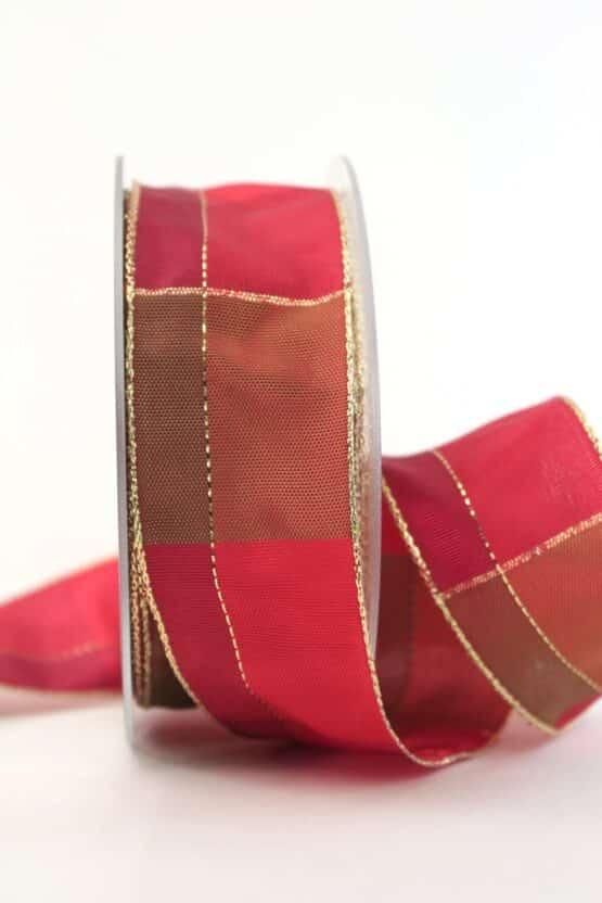 Karoband Weihnachten, rot-gold, 40 mm breit - geschenkband-weihnachten-kariert, geschenkband-weihnachten