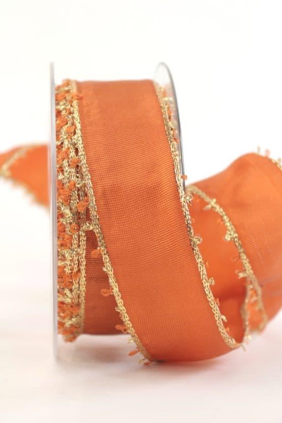 Geschenkband Weihnachten, terra-gold, 40 mm breit - geschenkband-weihnachten-gemustert, geschenkband-weihnachten
