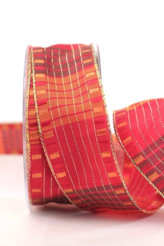 Weihnachtsband mit Kästchen, orange-gold, 40 mm breit - geschenkband-weihnachten-gemustert, geschenkband-weihnachten