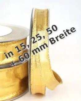 Gold-Band in 15, 25, 40 und 60 mm, mit Drahtkante - weihnachtsband, geschenkband-weihnachten-einfarbig, geschenkband-weihnachten-dauersortiment, geschenkband-weihnachten